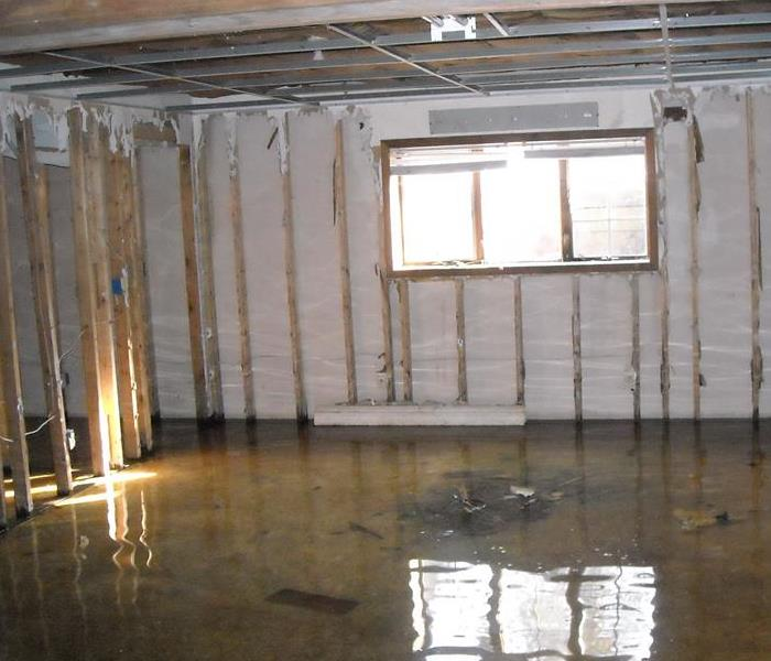 Flooded basement in a vacant house