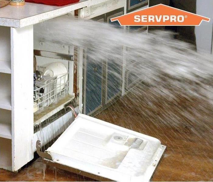 A dishwasher spraying out water with SERVPRO logo in the background