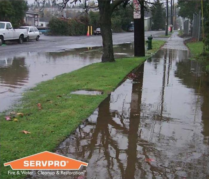 Standing water in neighborhood with SERVPRO logo